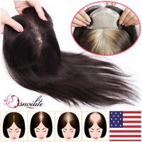 Silk Base Mono Lace 100% Remy Human Hair Topper Toupee Hairpiece Top Wig Women