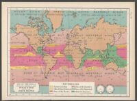 Handsome Vintage Color Map of World Winds & Rain - 1900s Geography Weather
