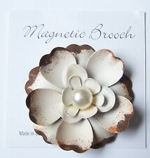 Magnetic Brooch Clip Clasp Pin Brushed Cream / Brown Metal Flower Scarves Shawl