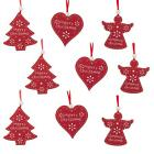 Set of 9 Red Wooden Christmas Tree Decorations Hearts / Angels/ Trees