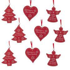 Juego de 9 Rojo Madera Árbol de Navidad Decoraciones corazones/Ángeles/Árboles