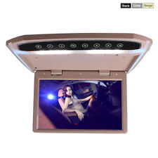 15 Inch Car Roof Overhead Flip Down Monitor Video Media Player Beige Color 16GB