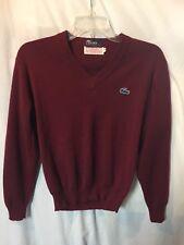 Izod Lacoste Men's Vintage Burgundy Red V Neck Sweater Size Sz Small Sm S