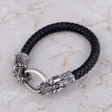 Retro Unisex Knot Viking Double Wolf Bracelet Gothic Rune Chain Bangle Amulet