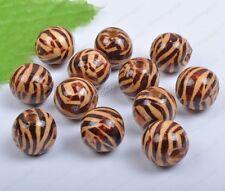 100Pcs 10MM Brown wood zebra-stripe wood Charms round beads diy findings