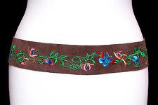 Ladies Floral Embroidery on Brown Leather/Suede Tassel Tie Belt