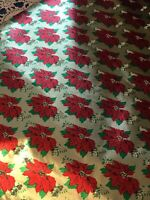 VTG CHRISTMAS WRAPPING PAPER GIFT WRAP NOS BEAUTIFUL GOLD RED POINSETTIA FOIL