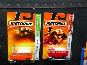 MATCHBOX 1970's VOLKSWAGEN T2 CAMPER BUS RED AND ORANGE SPORTSMAN & ADVENTURE