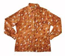Vintage 70s Kmart Foliage Print Pattern Button Down Polyester Shirt