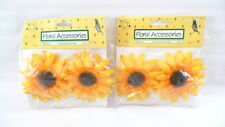 "4 Fabric SUNFLOWERS Gold 4"" Sunflower Head NEW Crafts Hats Wreaths Baskets"