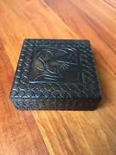 Vintage Polish Handcrafted Square Jewelry/Trinket Box with Dove Design