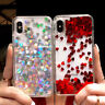 For iPhone X 6s 7 8 Plus Glitter Moving Hearts Quicksand Rubber Soft Case Cover