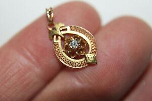 Antique Art Deco Nouveau 14K Yellow Gold 0.075 Carat Diamond Pendant