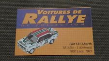 Lot 2 Certificats Voitures De Rallye De Collection «Fiat 131 Abarth »TBE.
