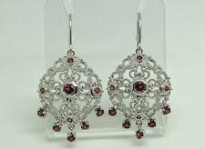 Gorgeous Modern Rhodium Sterling Silver Garnet Ornate Chandelier Drop Earrings