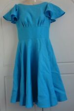 UK SIZE 10 - DIG FOR VICTORY BLUE HANDMADE TIFFANY SWING DRESS WITH CIRCLE SKIRT