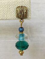 Vintage Carol Kent Drop Earrings Gold Tone Teal Blue Clear Glass Beads