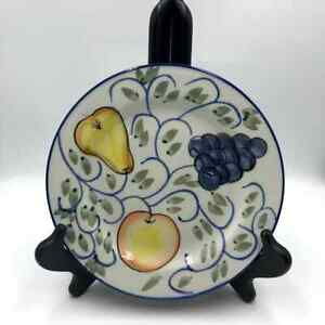 Tabletops Frutteto Handpainted Salad Dessert Plates Set of 6 Fruit Design