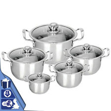 STAINLESS STEEL 5PC COOKWARE CASSEROLE STOCKPOT POT HOB SET WITH GLASS LIDS