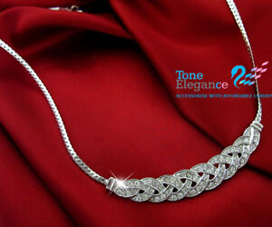 18k white gold GF twist women solid necklace made with swarovski #BO51