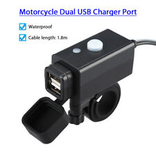 Motorcycle Dual Port USB Adapter Charger 12V Socket For Phone GPS Power Supply