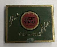 Vintage Lucky Strike Flat Fifties Cigarettes Hinged Metal Case Tin