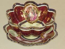 RARE ANTIQUE 1800s VIENNA AUSTRIA BEEHIVE COLANDER BOWL UNDERPLATE LADY & CHERUB