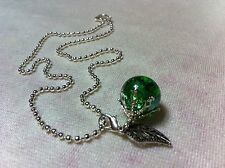 Fried Marble Necklace Green Glass Apple Pendant shattered Charm Silver Chain
