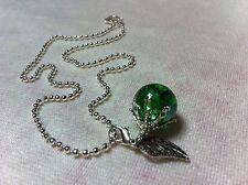 Collar De Cristal Verde Mármol fritos Apple colgante del encanto de plata cadena destrozada