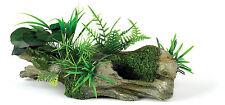 Driftwood Log Fish Cave with Artificial Plants Aquarium Terrarium Ornament