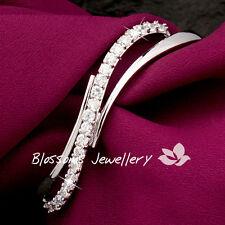 18K White GOLD GF SILVER Bangle BRACELET with  DIAMOND Wedding ES702