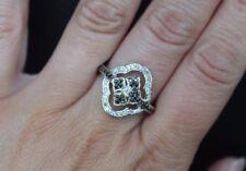 New 10K Sz8 0.4ct Real Black & White Diamond Flower Right Hand Ring White Gold