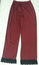 TOPSHOP Womens Satin Pyjama Pants Lace Hem Bottoms Trouser Loungewear UK 8 EUR36