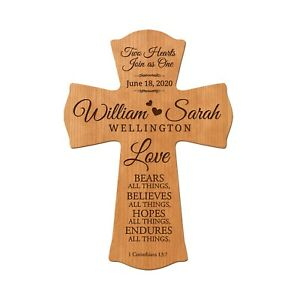 Personalized Wedding Wooden Cross Wall Décor 8x11.2 - Two Hearts Join As