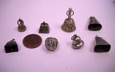 VINTAGE STERLING SILVER  Bells ETC MIXED LOT 8 CHARMS