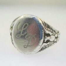 Sterling Silver OB Mens Initial Monogram Signet LD Eagle Ring Size 11.5