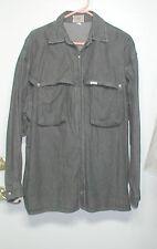 Guess Women XL 100% Cotton Charcoal Denim Shirt 2 Cargo Pockets