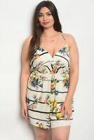 Women's Plus Size Ivory Floral Spaghetti Strap Peek A Boo Romper 2X NEW