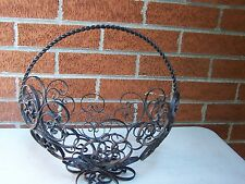 "Spanish Wrought Iron Scroll Vintage basket on pedestal 10"" x 8"" w x 12""H"