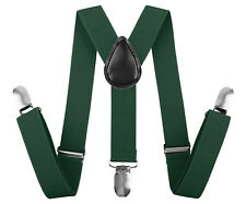Solid Color Boy Metal Clips Leather Adjustable Suspender