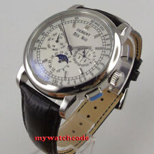42mm debert white dial date day black strap multifunction automatic mens Watch