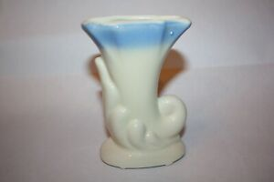 Vintage USA Pottery Cornucopia Vase/Planter, White & Blue Ceramic
