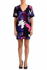 Just Cavalli Multi-Color V-Neck Short Sleeve Women's Shift Dress US S IT 40
