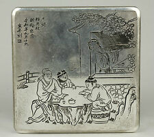 China Handwork Carved Characters Copper Plating Silver Jewelry Boxes