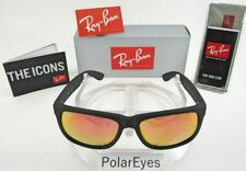 Ray-Ban Justin RB4165 622/6Q Wayfarer Sunglasses/Matte Black/Red Mirror 54-16mm