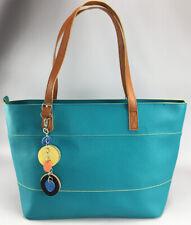 Teal Imitation Vegan Leather TOTE Shopper Travel Bag Handbag