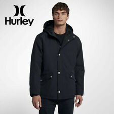 Hurley Men's Timber Full-Zip Hooded Winter Jacket Water Resistant Black sz L XL