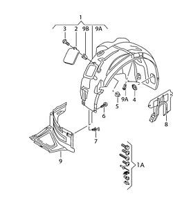 Audi 12 - 16 OEM Fender Liner Splash Guard 4G0821134D Front Right GENUINE
