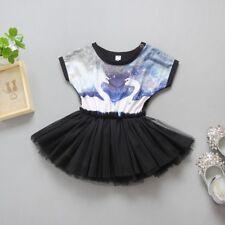 Girl Dress White Swan Black Lace Sleeveless Party Birthday Dresses Size 1-7 Yrs