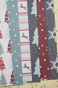 Scandi Christmas Card Stock 250gsm patterned xmas trees reindeer cardstock paper